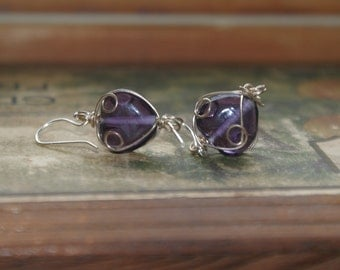 Purple Glass and Silver Dainty Earrings