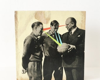 Wood Wall Art Block, Ornament, Vintage Sports, Surreal Original Collage