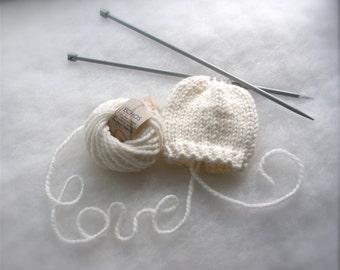 Alpaca Newborn hat Eco friendly Baby hat White Baby Beanie Photo prop Knit baby hat Baby winter hat Baptism Baby gift Hat Organic Wool
