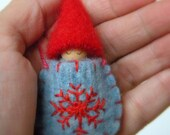 Waldorf Gnome Baby Necklace, Blue Sweater Pouch, Snowflake, Wearable Doll, Winter, red, blue, embroidered doll, Upcycled wool felt, eco toy