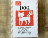 "Chinese Zodiac 5""x7"" - YEAR of the DOG - Letterpress Art Print - New Years - Junishi"