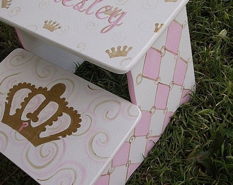 Gold  Pink  Lavender  Crowns, Kids Furniture, Steps & Stools, Princess Crowns,Nursery, Benches, Bathroom Stool Personalized