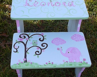 Benches, Pink Elephant, Owls, Bathroom Stool, Pet Stairs, Furniture, Nursery Decor,Personalized