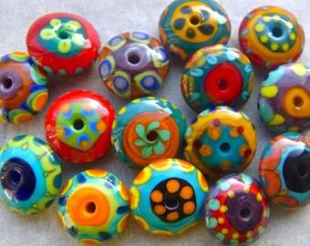 Happy Discs - Handmade Lampwork Glass Beads (14) by Anne Schelling, SRA
