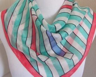 "Katja // White Stripe Soft Silk Blend Scarf // 22"" Inch 56cm Square"