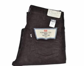 ON SALE Vintage Dark Brown LEVI'S Levis 519 Straight Leg Corduroy Jeans 32 x 30 Talon 42 Zipper