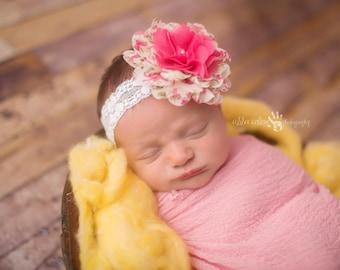 Baby Girl Headband, Newborn Headband, Chiffon Headband, Flower Headband, Newborn Photo Prop, Photography Prop