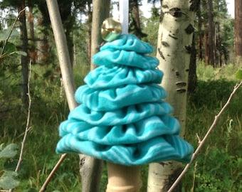 Primitive Light Blue with Dark Blue Stripes Yo-Yo Christmas Tree Ornament
