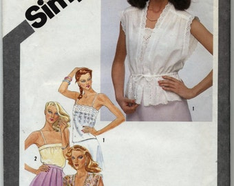 Vintage Misses' Pullover Camisoles and Unlined Jackets Sewing Pattern - Simplicity 9971 - Size 10 - UNCUT