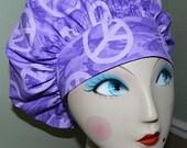 Purple Peace Camo Banded Bouffant Surgical Cap / Bakers Cap