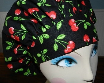 Cherries on Black  Banded Bouffant Surgical Cap