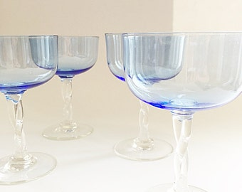 Vintage Champagne Stemware 4 Blue Champagne Glasses Coupe Glasses Fancy Twisted Hand Blown Stem