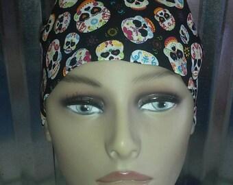 Sugar skull ponytail scrub hat