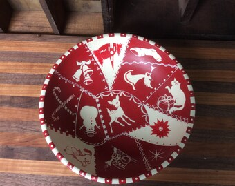 Christmas round  wool Bowl Crazy Quilt Style Hand Painted Folk Primitive