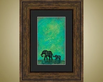 PRINT or GICLEE Reproduction -- Elephant Mother and Baby, Abstract Elephant 12 x 18 -- Across the Night