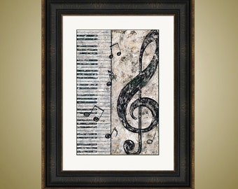 PRINT or GICLEE Reproduction -- Piano and Treble Clef -- Perfect for Music Lovers -- Music Art -- by Britt Hallowell