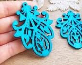 WP40 / # 9 Aqua Blue / Wood Filigree Tear Lace Dangle For Earring/Laser Cut Lace Charm / Pendant /  Filigree Wood Gift /Light earrings