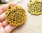 WP35 / #12 sand / Wood Filigree Lace Dangle For Earring/ Laser Cut Lace Charm / Pendant /  Filigree Wood Gift /Light earrings
