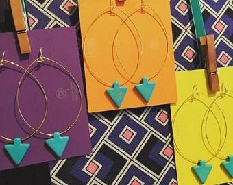 Gold Loop Earrings with Turquoise Arrow Earrings