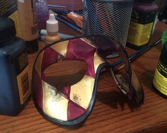 Two Face Harlequin Handmade Genuine Leather Mask in Red and Gold for Masquerades Halloween or Cosplay Costume