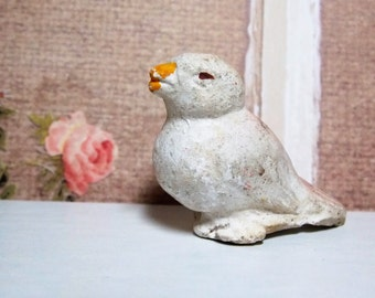 Little White Bird Chalkware Figure