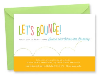 Trampoline Party Invitation, Bounce House Birthday Invitation, Jump Invitation, Gym Party Invitation, Trampoline Birthday Invite, PRINTABLE.