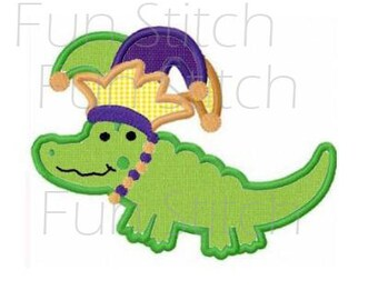 Alligator in jester hat mardi gras machine embroidery design applique