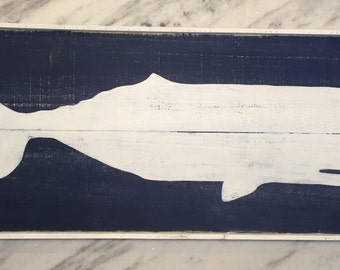 Flat belly whale wood sign with frame