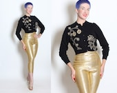 FABULOUS 1950's Cashmere Cropped Cardigan Sweater w/ Metallic Gold & Rhinestone Asian Lanterns / Dragon by Boutique in The Hilton - M to L