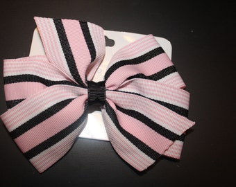 Pink and Black Stripe Hair Bow