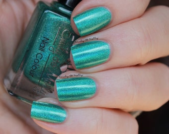 "Nail polish - ""Lyrical"" turquoise green holo polish"