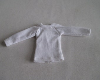 Handmade outfit for Blythe doll long sleeve Sweater Tee shirt White SW-16