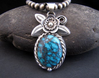 Shadow Lake Azteca Nueva Tibetan Turquoise Sterling Pendant