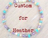 "12.5"" CUSTOM Baltic Amber, Turquoise and Amethyst Necklace for Heather"