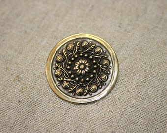 Brass Brooch, Brass Flower, Big Flower, Solid Brass Brooch, Handmade Brooch, Sterling Silver Brooch, Brass and Silver Jewelry,