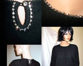 Sexy Madmen Sparkly Rhinestone Trimmed  Pullover Black Wool Fall Sweater Pinup Rock A Billy MINT