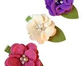 Felt Flower Hair Clip Trios - Vintage colors - Magenta , Cream , Plum
