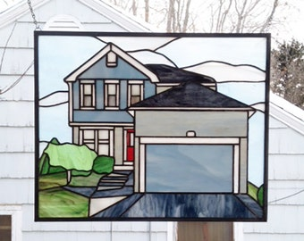 """Home Elevation-15.5"""" x  19""""--Stained Glass Window Panel"""