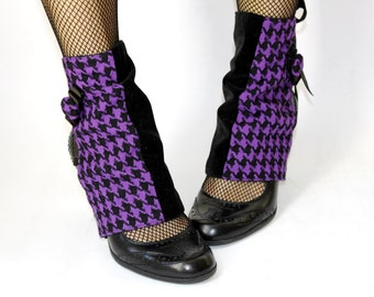 Spats - Purple Houndstooth and Black Velvet. Handmade. OOAK