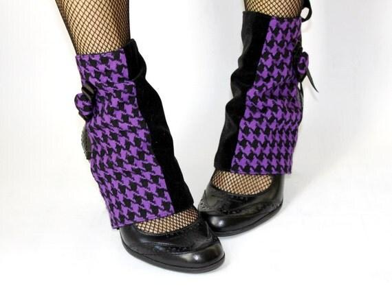 Spats - Purple Houndstooth and Black Velvet. Handmade. OOAK