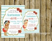 Birthday Summer Bikini Baby Pool Party Red Aqua Turquoise Teal Gold Glitter Baby Shower Birthday Invitation ALL Colors can be customized