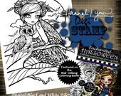 PRINTABLE Digi Stamp Owl Girl Enchanted Halloween Coloring Page Fun Fantasy Art Hannah Lynn
