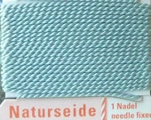 Turquoise Silk Beading Cord with Needle Attached - Size 0 Griffin Pure Silk Thread