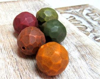 Colorful Bead set, Handmade Beads, Artisan Beads, Art Beads, Fragment Beads, Carved Beads, Statement Beads - plum, green, orange, red, congc