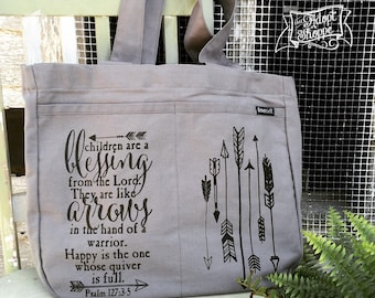 children are a blessing arrow Psalm 127:3-5 tote bag