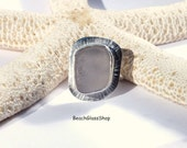 Sea Glass Ring Size  6 3/4  Sterling Beach Ring FREE Shipping inside the United States