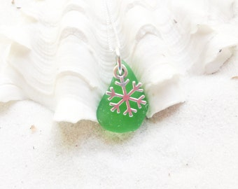 Sea Glass Necklace - Sterling Necklace - Lake Erie Beach Glass - Christmas Jewelry - FREE Shipping inside the United States