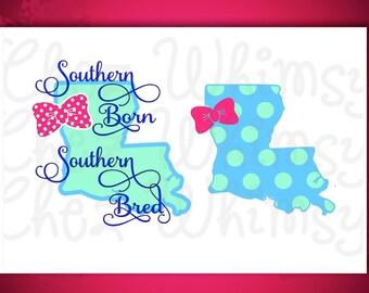 Louisiana SVG, Southern Born SVG, Polka Dot Louisiana Design, Louisiana with Bow, Preppy Southern Design, LA with Bow Design File