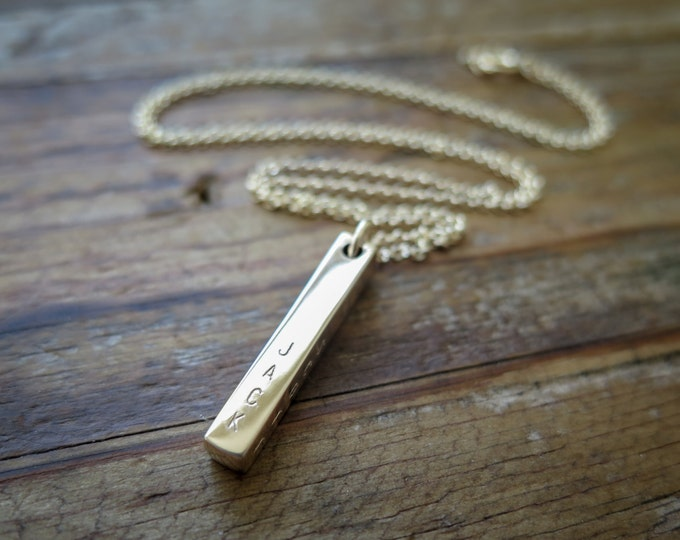 4 Sided Bar Necklace - Custom Stamped - Hand Stamped Bronze Bar Personalized by Betsy Farmer Designs