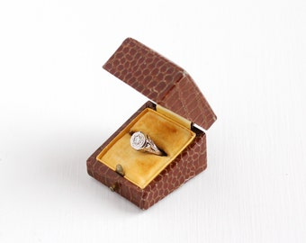 Vintage Brown Faux Snakeskin Ring Box - Art Deco 1910s 1920s Proposal Presentation Accessory Engagement Bridal Old Germany Display Box